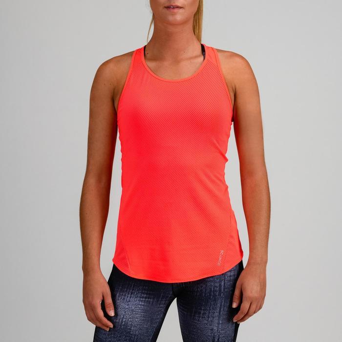 Camiseta sin mangas cardio fitness mujer coral rayas finas 120