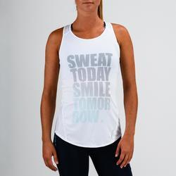 Camiseta sin mangas tirantes Cardio Fitness Domyos 120 mujer blanco estampado
