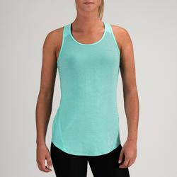 Camiseta sin mangas tirantes Cardio Fitness Domyos 120 mujer azul turquesa