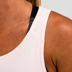 Tank-Top 120 Cardio-/Fitnesstraining Damen blassrosa mit Print und Glitzereffekt