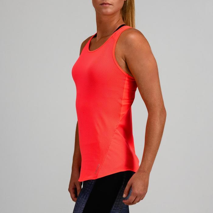 Débardeur cardio fitness femme corail fines rayures 120