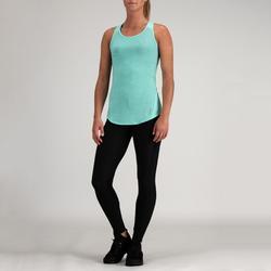 Top 120 Cardio-/Fitnesstraining Damen türkisblau mit dünnen Streifen