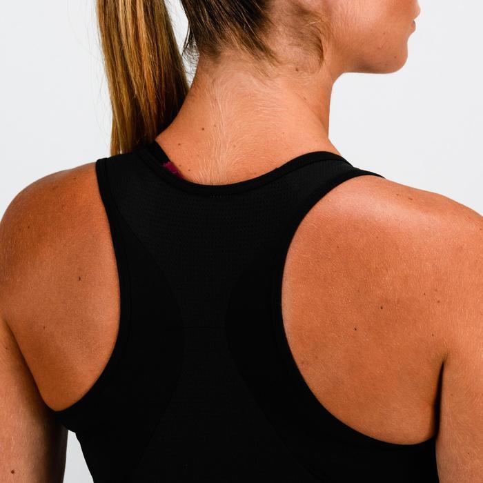 Camiseta sin mangas cardio fitness mujer negro estampado 120