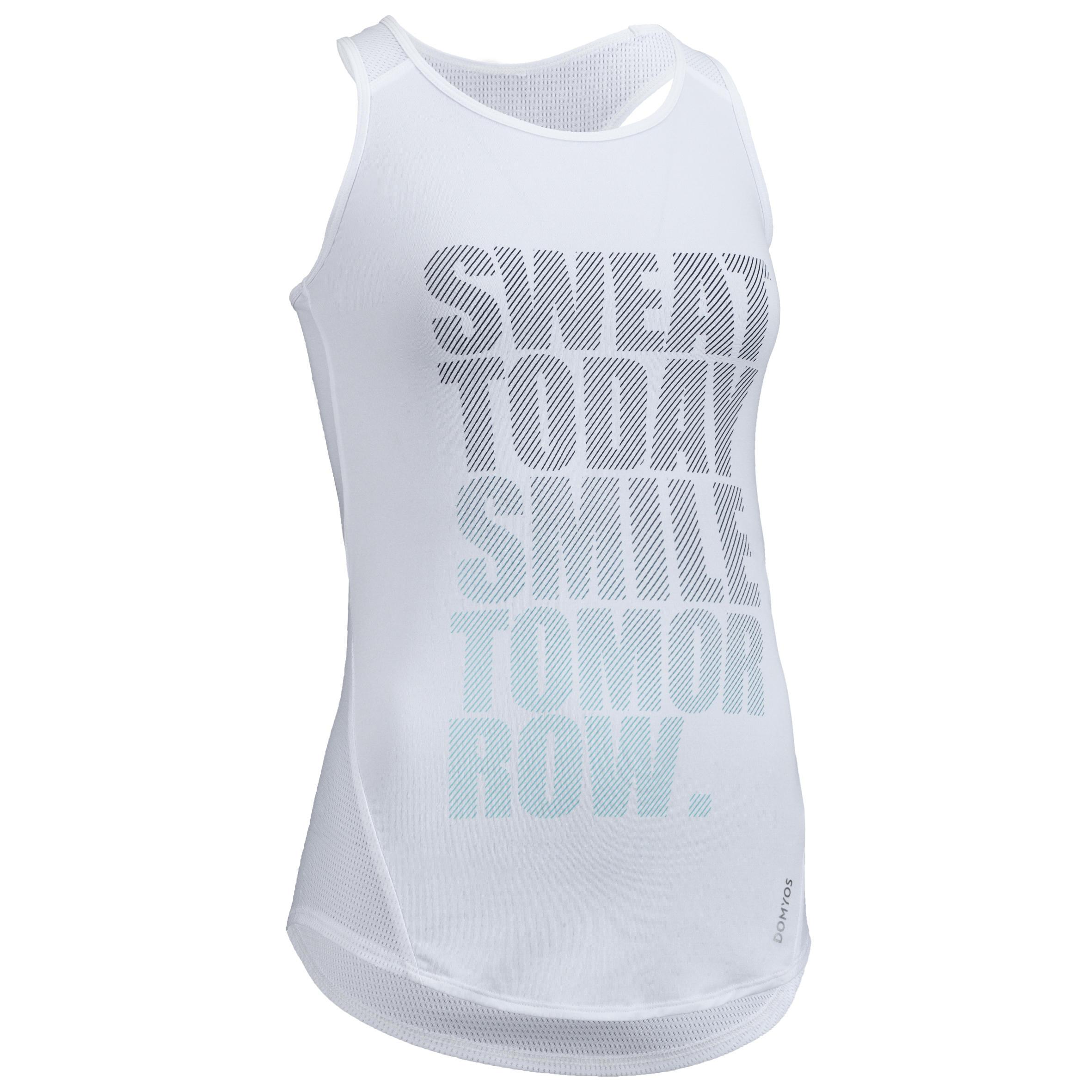 Camiseta sin mangas cardio fitness mujer blanco estampado 120