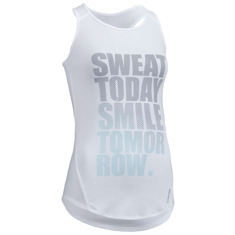 WOMAN FITNESS ENERGY APPAREL Fitness and Gym - FTA 120 Tank Top - White DOMYOS - Fitness and Gym