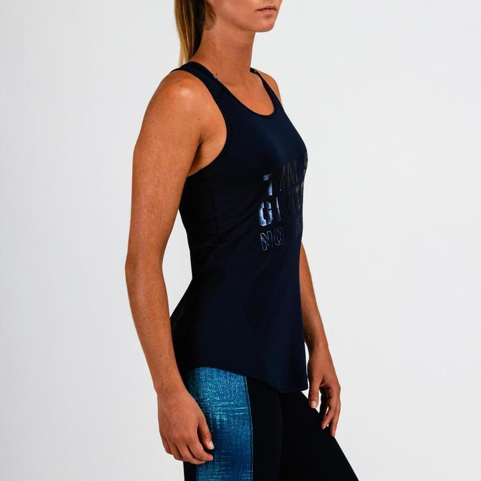 """Débardeur cardio fitness femme bleu marine imprimé """"effet satiné"""" 120"""