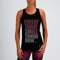 Camiseta sin mangas tirantes Cardio Fitness Domyos 120 mujer negro