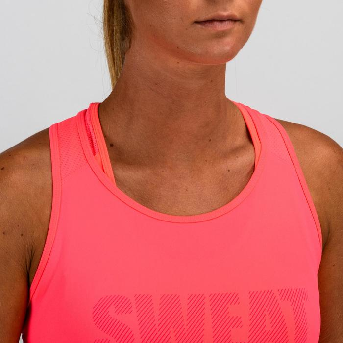 Top FTA 120 Fitness Cardio Damen rosa mit Print