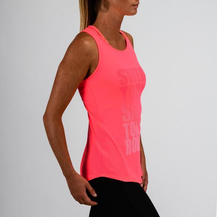 Débardeur cardio fitness femme rose imprimé 120