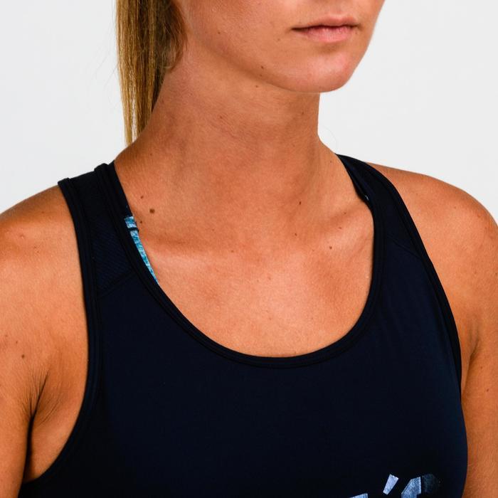 """Camiseta sin mangas cardio fitness mujer azul marino """"efecto satinado"""" 120"""