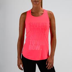 Camiseta sin mangas tirantes Cardio Fitness Domyos 120 mujer rosa