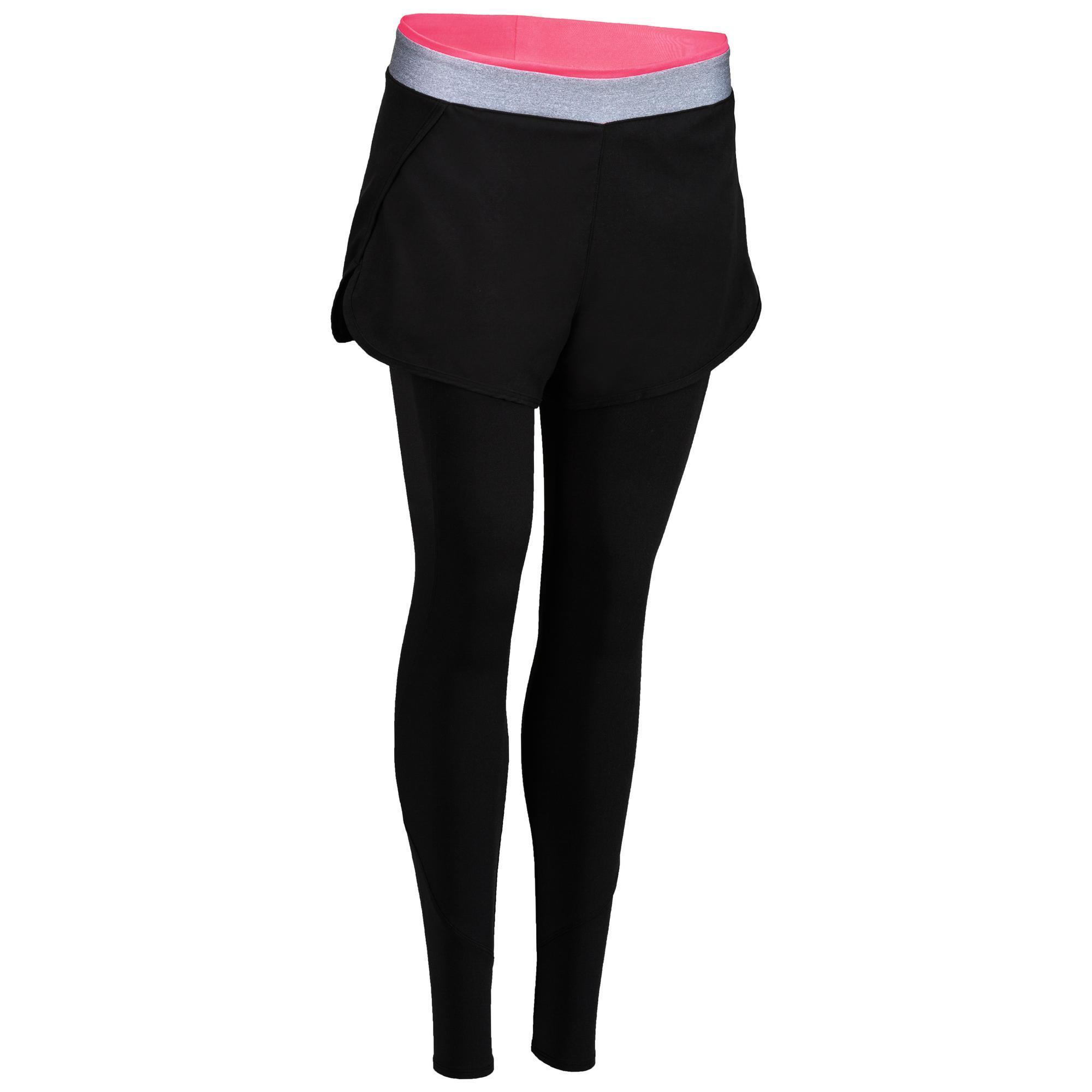 100 Women S Cardio Fitness Legging Short Black Domyos By Decathlon