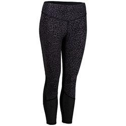 女款有氧運動7/8緊身褲FLE900-黑色/淡紫色印花