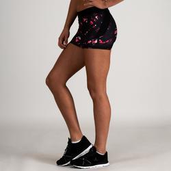 Short cardio fitness mujer negro estampado 500