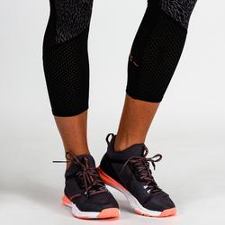 7/8-Leggings FLE 900 Fitness/Ausdauertraining Damen schwarz mit lila Print