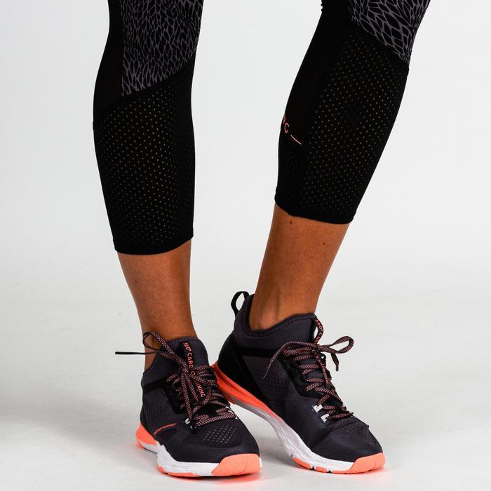 Legging 7/8 cardio fitness femme noir imprimé lilas 900