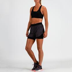 Sporthose kurz FST 900 Fitness Cardio Damen fliederfarben mit Print