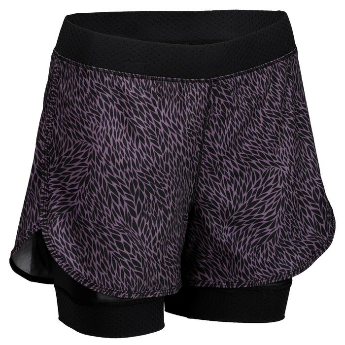 67dd1b539 Pantalón Short deportivo 2 en 1 Cardio Fitness Domyos 900 mujer negro morado