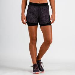 女款有氧健身短褲900-紫色印花