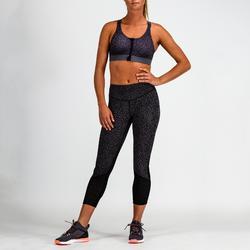 Mallas Leggings deportivos 7/8 Cardio Fitness Domyos 900 mujer negro morado