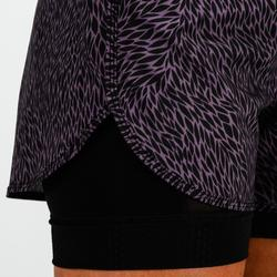 Pantalón Short deportivo 2 en 1 Cardio Fitness Domyos 900 mujer negro morado