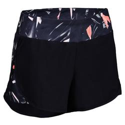 Cardiofitness short loose fit voor dames marineblauw print 500