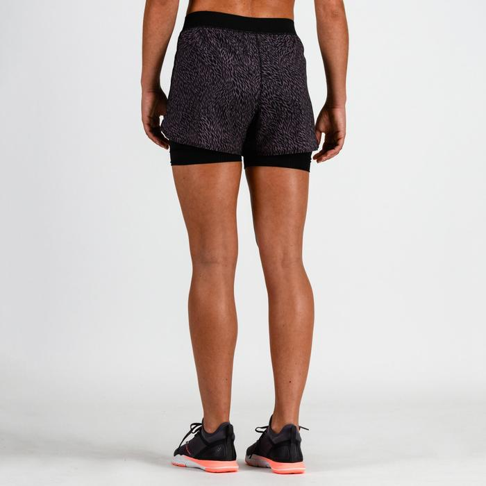 Short cardio fitness femme noir imprimé lilas 900