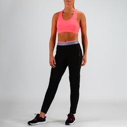 Pantalón chándal Cardio Fitness Domyos FPA 100 mujer negro rosa