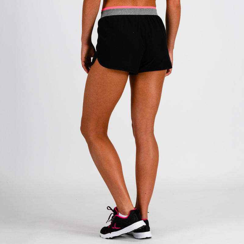100 Women's Cardio Fitness Loose Shorts - Black