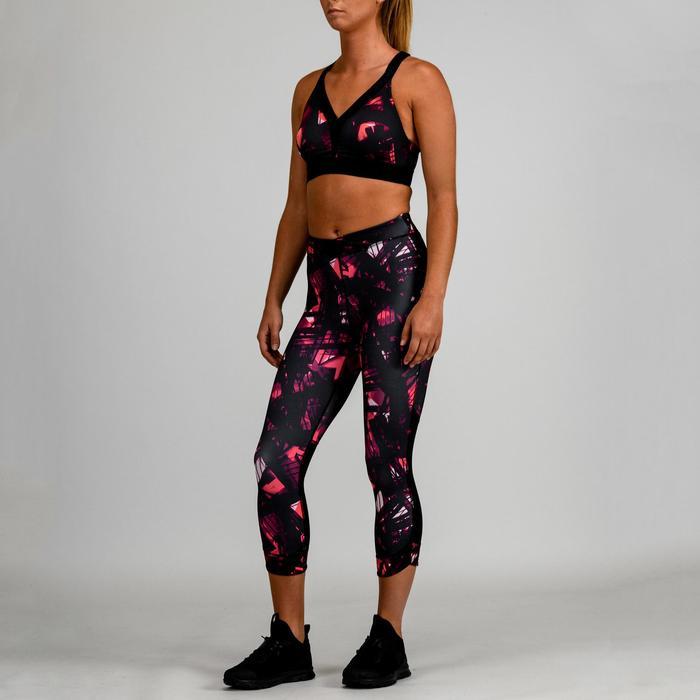 7/8 Leggings 520 Fitness Cardio Damen schwarz mit Print