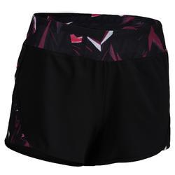 Pantalón Short amplio Cardio Fitness Domyos 500 mujer negro rosa
