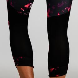 Legging 7/8 cardio fitness femme noir imprimé 520