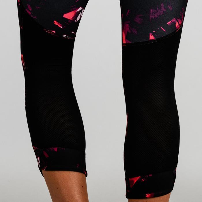 Mallas Leggings Deportivos 7/8 Cardio Fitness Domyos 520 mujer negro estampado