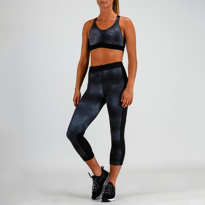 Leggings 7/8 cardio fitness mujer gris estampado 120
