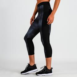 Mallas Leggings deportivos piratas Cardio Fitness Domyos 120 mujer gris negro
