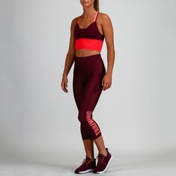 Mallas Leggings 7/8 Deportivos Cardio Fitness Domyos 120 mujer burdeos