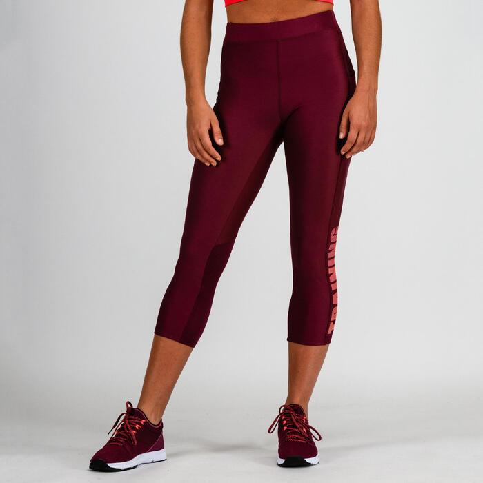 Leggings 7/8 cardio fitness mujer burdeos 120