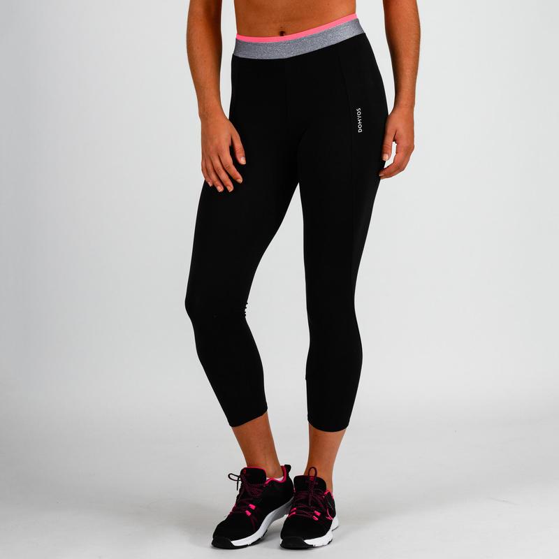 100 Women's Cardio Fitness 7/8 Leggings - Black