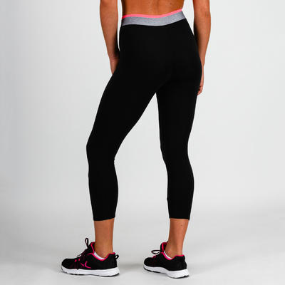 100 Women's Cardio Fitness 7/8 Leggings - Black