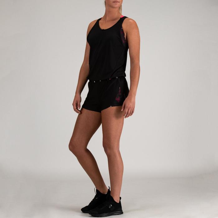 Korte jumpsuit cardiofitness dames zwart 500