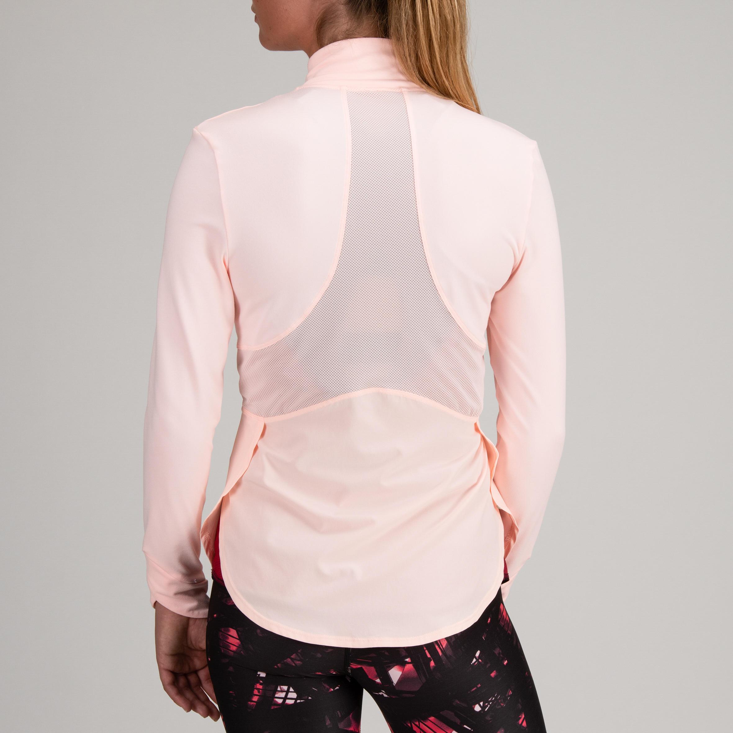 Veste cardio fitness femme rose pâle 500