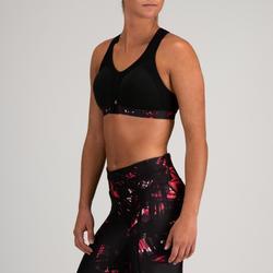 Sport-Bustier Power 900 Cardio-/Fitnesstraining Damen schwarz mit Print