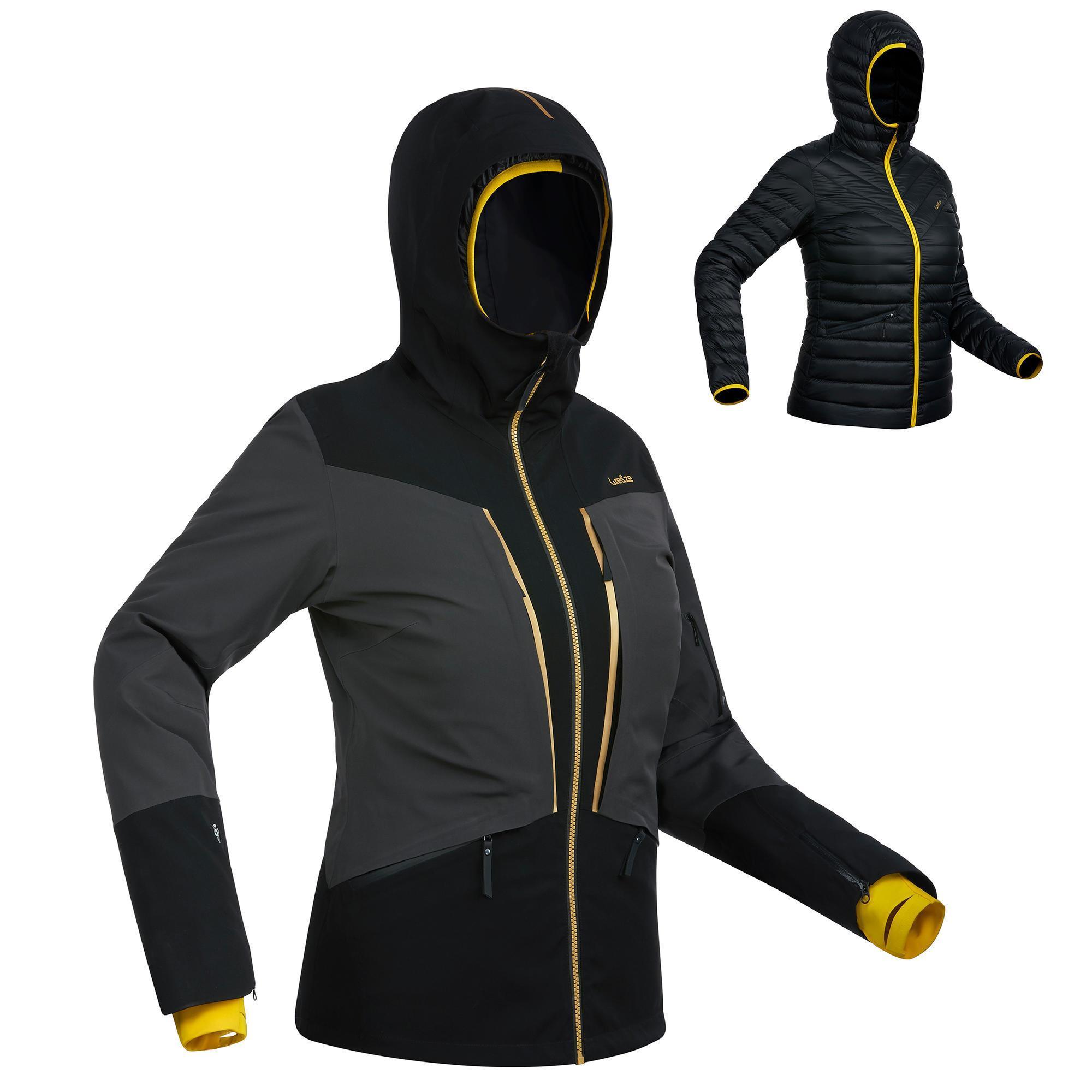 Skijacke Piste 900 Damen schwarz/grau | Sportbekleidung > Sportjacken > Skijacken | Grau - Schwarz | Wed´ze
