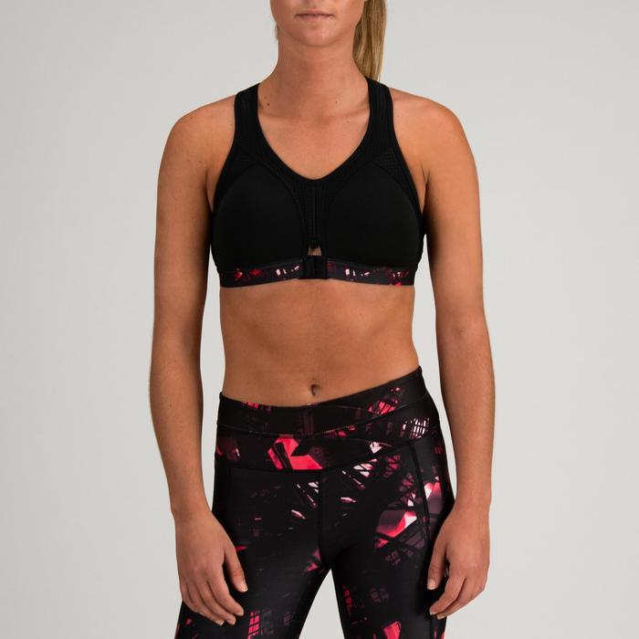 Sujetador-top power cardio fitness mujer negro estampado 900