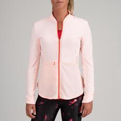 Chaqueta Sudadera Chándal Fitness Cardio Domyos 500 mujer rosa pastel