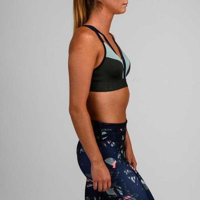 Top Sujetador Deportivo Cardio Fitness Domyos 520 mujer verde caqui