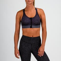 Sport-Bustier Zip 900 Cardio-/Fitnesstraining Damen schwarz mit Print