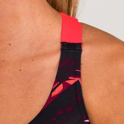 Жіночий спортивний топ 900 для кардіофітнесу - Темно-синій з принтом