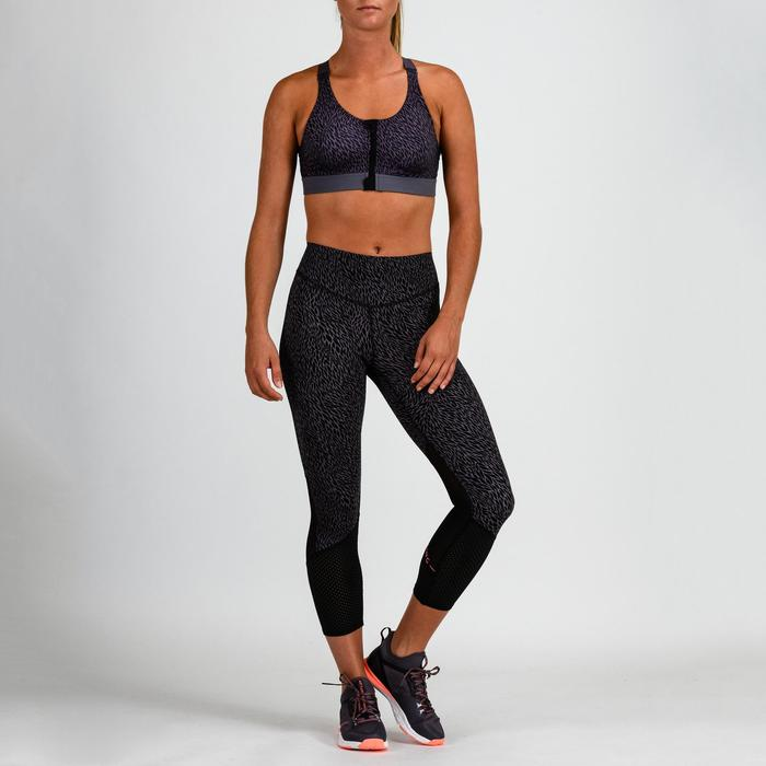 Cardiofitness sportbeha zip voor dames 900 zwart met print