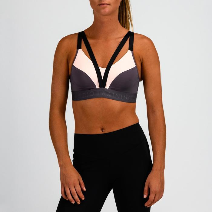 Sujetador-top cardio fitness mujer lila y rosa claro 520